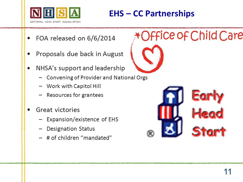 EHS – CC Partnerships FOA released on 6/6/2014 Proposals due back in August NHSA's support and leadership –Convening of Provider and National Orgs –Work with Capitol Hill –Resources for grantees Great victories –Expansion/existence of EHS –Designation Status –# of children mandated 11