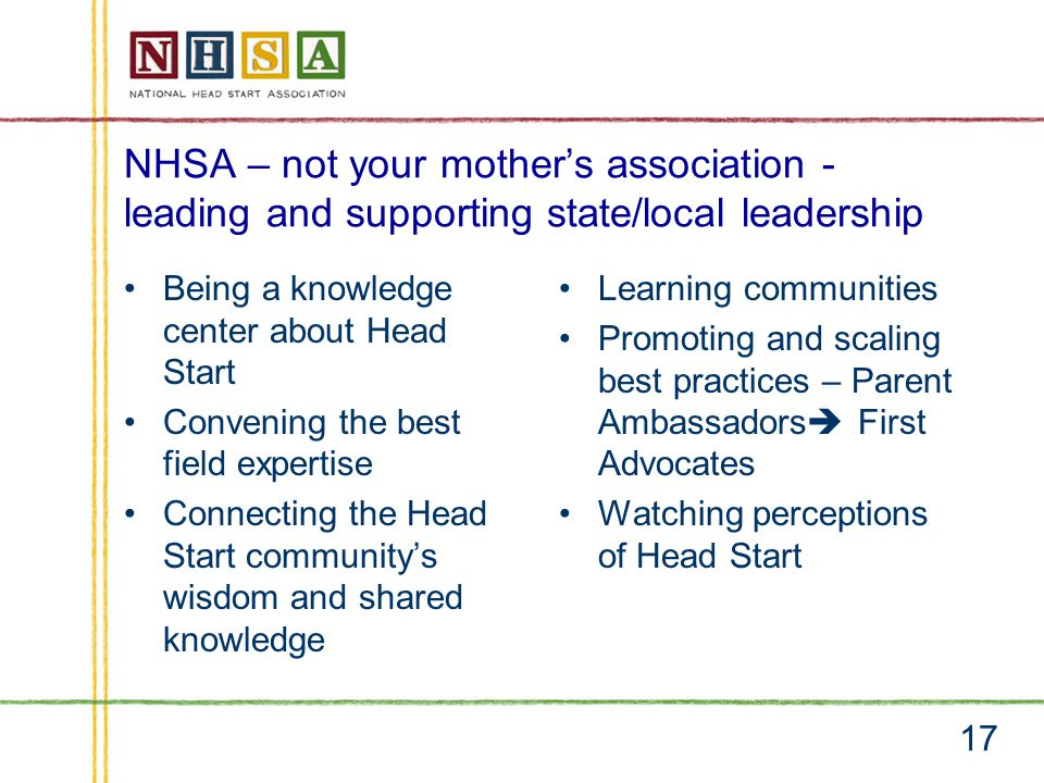 NHSA – not your mother's association - leading and supporting state/local leadership Being a knowledge center about Head Start Convening the best field expertise Connecting the Head Start community's wisdom and shared knowledge Learning communities Promoting and scaling best practices – Parent Ambassadors  First Advocates Watching perceptions of Head Start 17