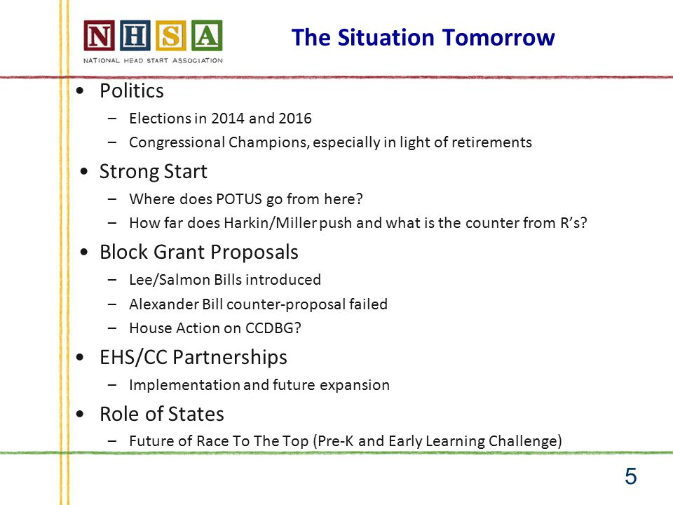 Head Start – Riding the Wave 6 Head Start in 2014 FY 2016 Sequestration Block Grant proposals 2014 Elections Future of Strong Start Implementation of Partnerships DRS