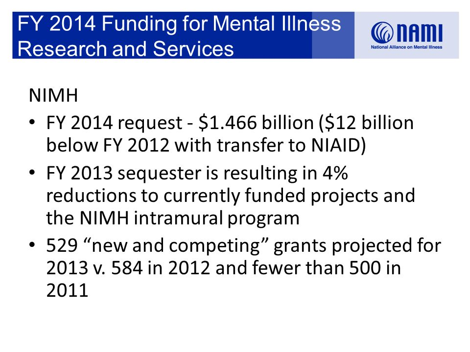 FY 2014 Funding for Mental Illness Research and Services NIMH FY 2014 request - $1.466 billion ($12 billion below FY 2012 with transfer to NIAID) FY 2013 sequester is resulting in 4% reductions to currently funded projects and the NIMH intramural program 529 new and competing grants projected for 2013 v.
