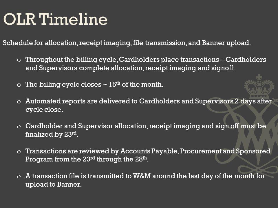 OLR Timeline Schedule for allocation, receipt imaging, file transmission, and Banner upload.