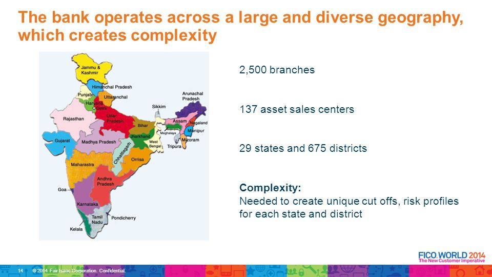 © 2014 Fair Isaac Corporation. Confidential. 2,500 branches 137 asset sales centers 29 states and 675 districts Complexity: Needed to create unique cu