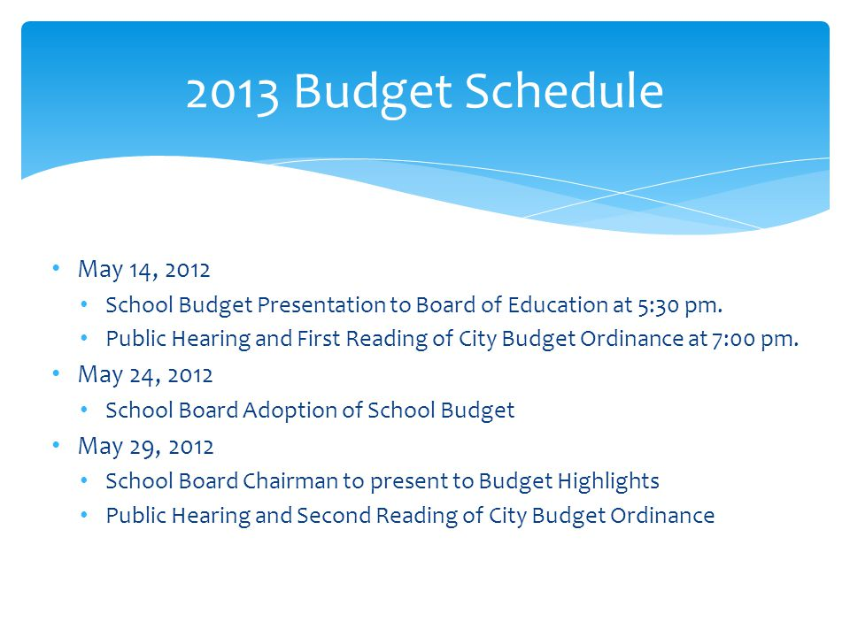 May 14, 2012 School Budget Presentation to Board of Education at 5:30 pm.