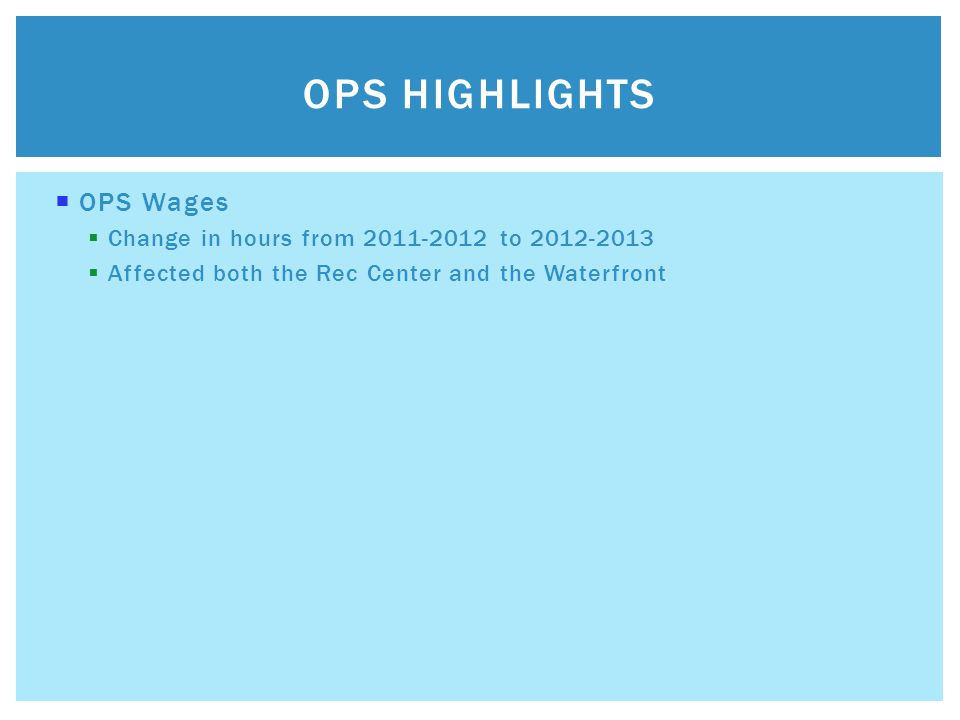  OPS Wages  Change in hours from 2011-2012 to 2012-2013  Affected both the Rec Center and the Waterfront OPS HIGHLIGHTS