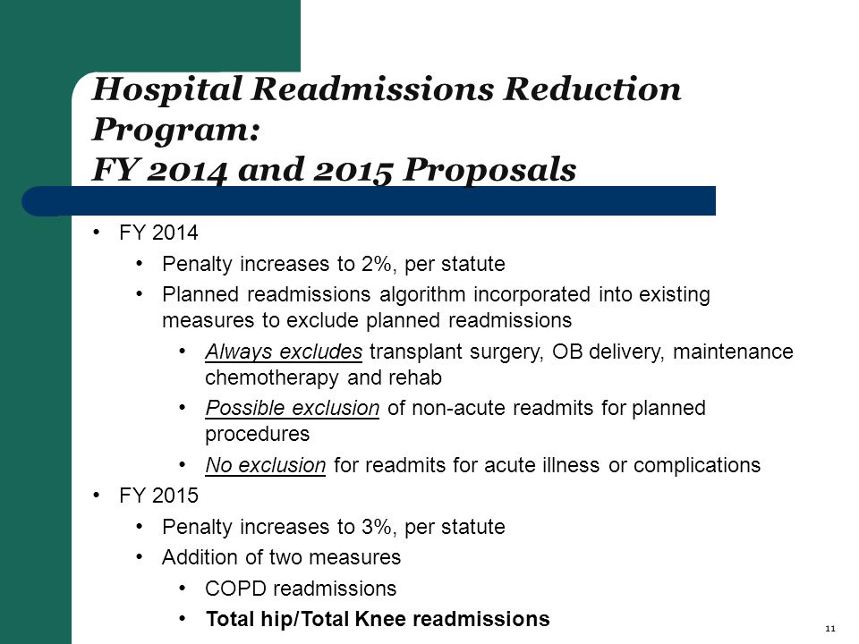 Hospital Readmissions Reduction Program: FY 2014 and 2015 Proposals FY 2014 Penalty increases to 2%, per statute Planned readmissions algorithm incorporated into existing measures to exclude planned readmissions Always excludes transplant surgery, OB delivery, maintenance chemotherapy and rehab Possible exclusion of non-acute readmits for planned procedures No exclusion for readmits for acute illness or complications FY 2015 Penalty increases to 3%, per statute Addition of two measures COPD readmissions Total hip/Total Knee readmissions 11