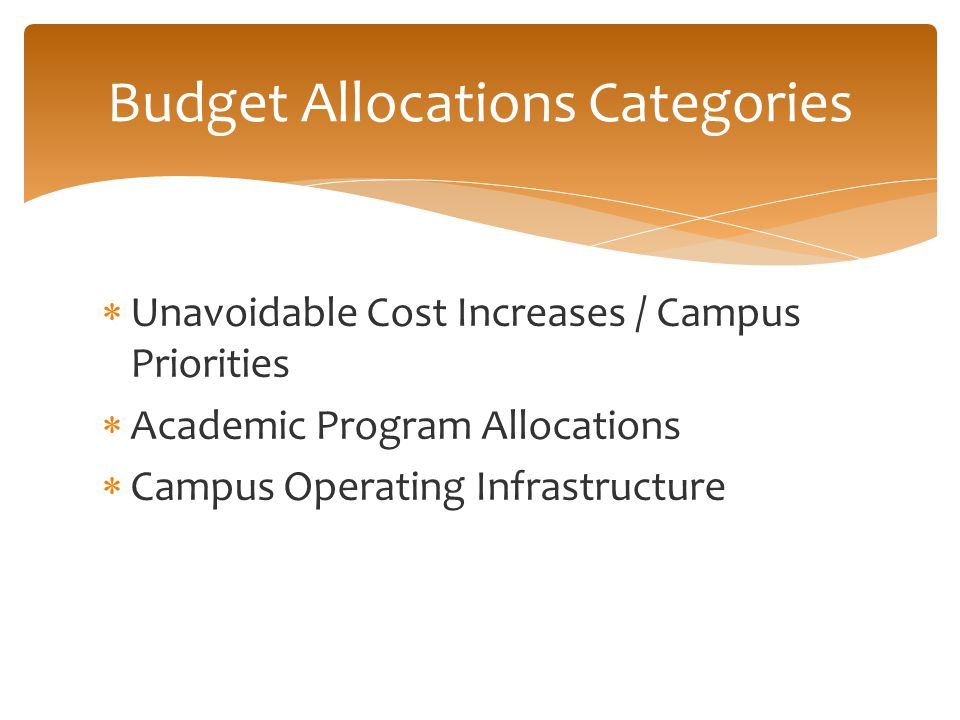  Unavoidable Cost Increases / Campus Priorities  Academic Program Allocations  Campus Operating Infrastructure Budget Allocations Categories