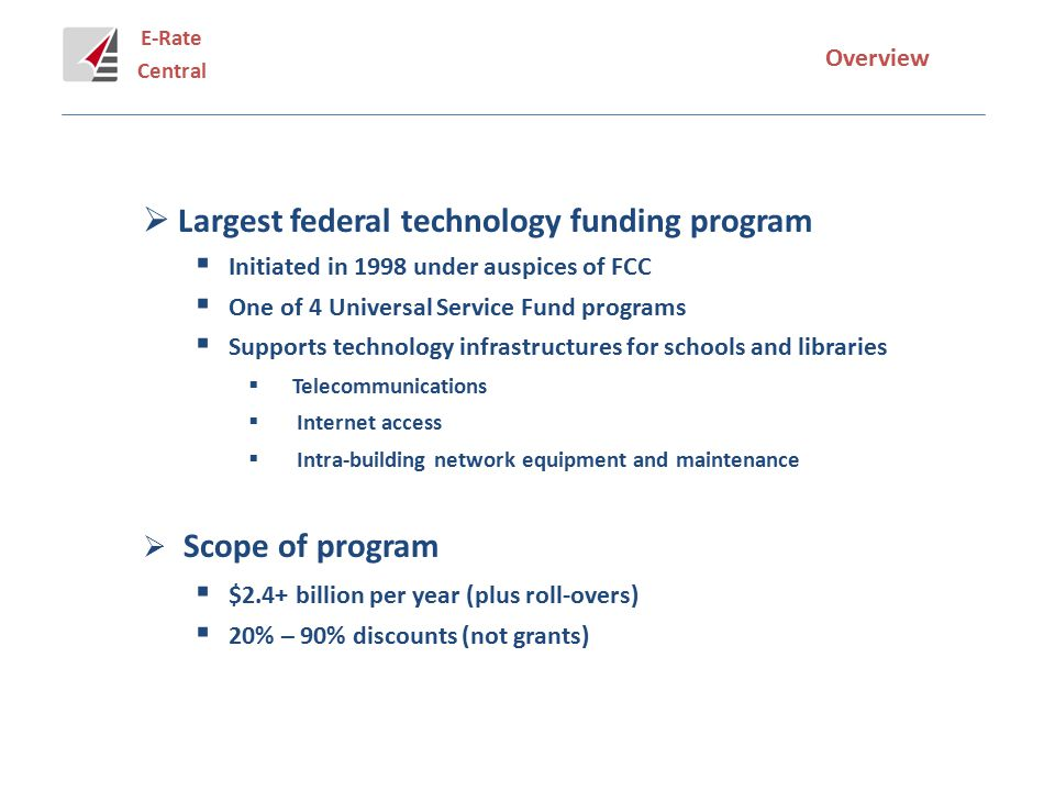 E-Rate Central Overview  Important source of technology funding (FY 1998 – 2014)  $40 billion nationwide  $4.4 billion for New York State  >11% of national total; one of highest E-rate $/student  Time-consuming, bureaucratic, and confusing program  Forms 470, 471, 472, 479, 486, and 500  Service eligibility and discount rate issues  Long lead time and competitive bidding procedures  Strict application review process  Audits and retroactive refund exposure