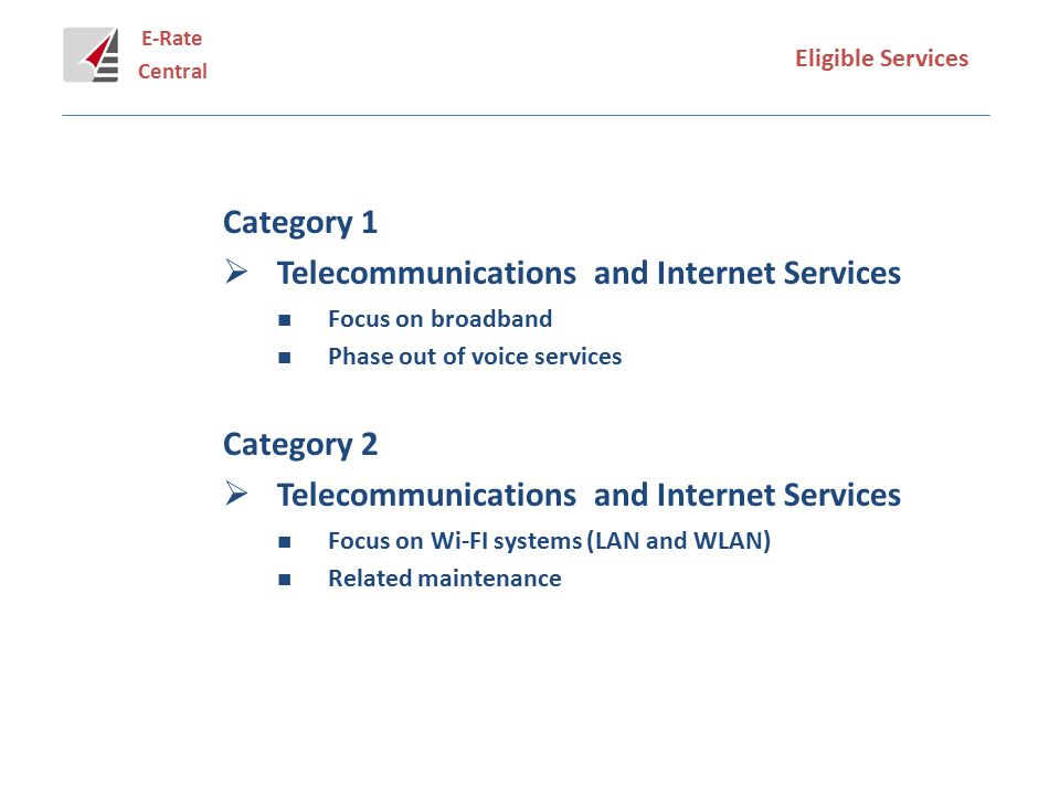 E-Rate Central Eligible Services Category 1  Telecommunications and Internet Services Focus on broadband Phase out of voice services Category 2  Telecommunications and Internet Services Focus on Wi-FI systems (LAN and WLAN) Related maintenance