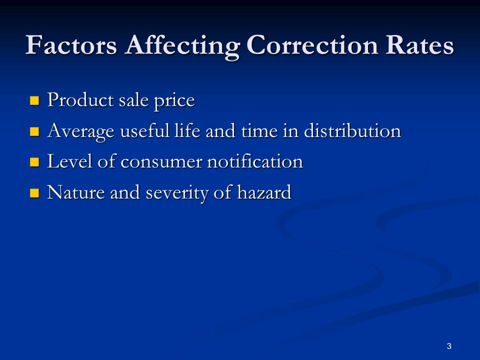 Factors Affecting Correction Rates Product sale price Product sale price Average useful life and time in distribution Average useful life and time in distribution Level of consumer notification Level of consumer notification Nature and severity of hazard Nature and severity of hazard 3