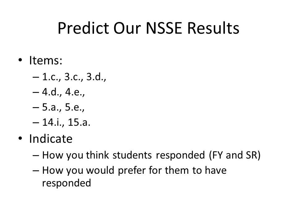 Predict Our NSSE Results Items: – 1.c., 3.c., 3.d., – 4.d., 4.e., – 5.a., 5.e., – 14.i., 15.a.