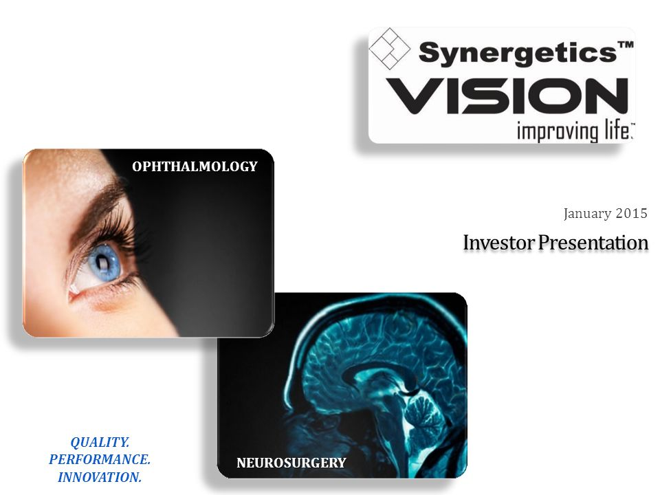 Investment Rationale Key medical device manufacturer supplying ophthalmic and neurosurgery markets with leading technologies Retinal surgery a compelling segment of ophthalmology New product introductions – foremost of which is the VersaVIT 2.0™ vitrectomy machine – drives total Company revenue growth over long term Business model fueled by the combination of high margin disposables and innovative capital equipment Long-term profit margin opportunities driven by improving operational efficiency and continuous improvement initiatives 32
