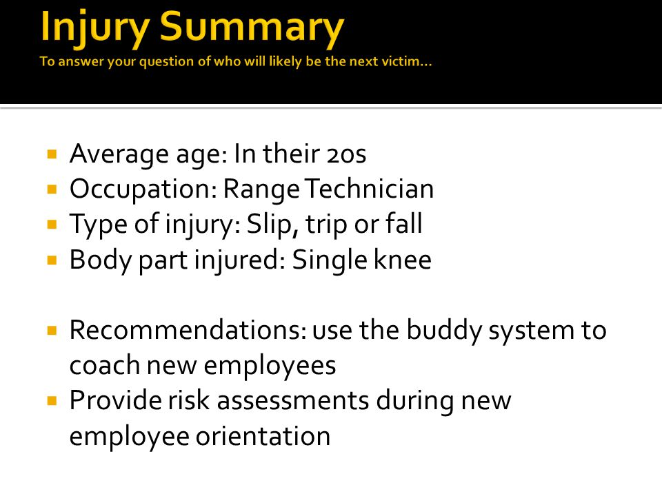  Average age: In their 20s  Occupation: Range Technician  Type of injury: Slip, trip or fall  Body part injured: Single knee  Recommendations: use the buddy system to coach new employees  Provide risk assessments during new employee orientation