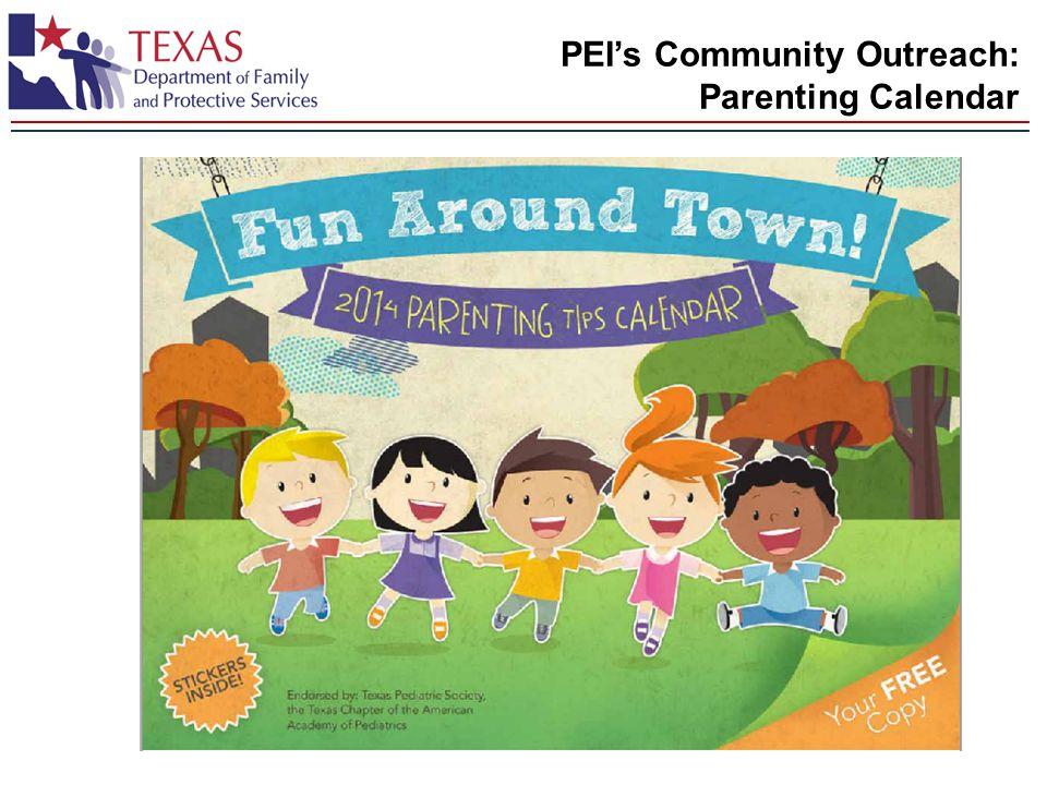 PEI's Community Outreach: Parenting Calendar
