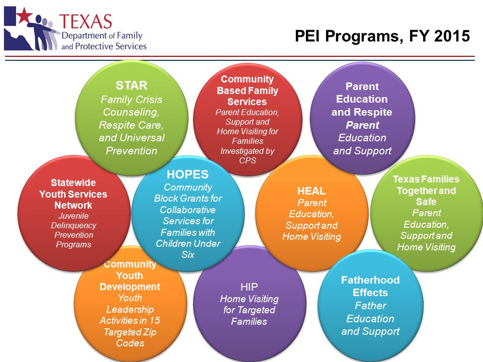 PEI Programs, FY 2015 Community Youth Development Youth Leadership Activities in 15 Targeted Zip Codes Community Youth Development Youth Leadership Activities in 15 Targeted Zip Codes HIP Home Visiting for Targeted Families HIP Home Visiting for Targeted Families Statewide Youth Services Network Juvenile Delinquency Prevention Programs Statewide Youth Services Network Juvenile Delinquency Prevention Programs Texas Families Together and Safe Parent Education, Support and Home Visiting Texas Families Together and Safe Parent Education, Support and Home Visiting Community Based Family Services Parent Education, Support and Home Visiting for Families Investigated by CPS Community Based Family Services Parent Education, Support and Home Visiting for Families Investigated by CPS HEAL Parent Education, Support and Home Visiting HEAL Parent Education, Support and Home Visiting Parent Education and Respite Parent Education and Support Parent Education and Respite Parent Education and Support Fatherhood Effects Father Education and Support Fatherhood Effects Father Education and Support HOPES Community Block Grants for Collaborative Services for Families with Children Under Six HOPES Community Block Grants for Collaborative Services for Families with Children Under Six STAR Family Crisis Counseling, Respite Care, and Universal Prevention STAR Family Crisis Counseling, Respite Care, and Universal Prevention