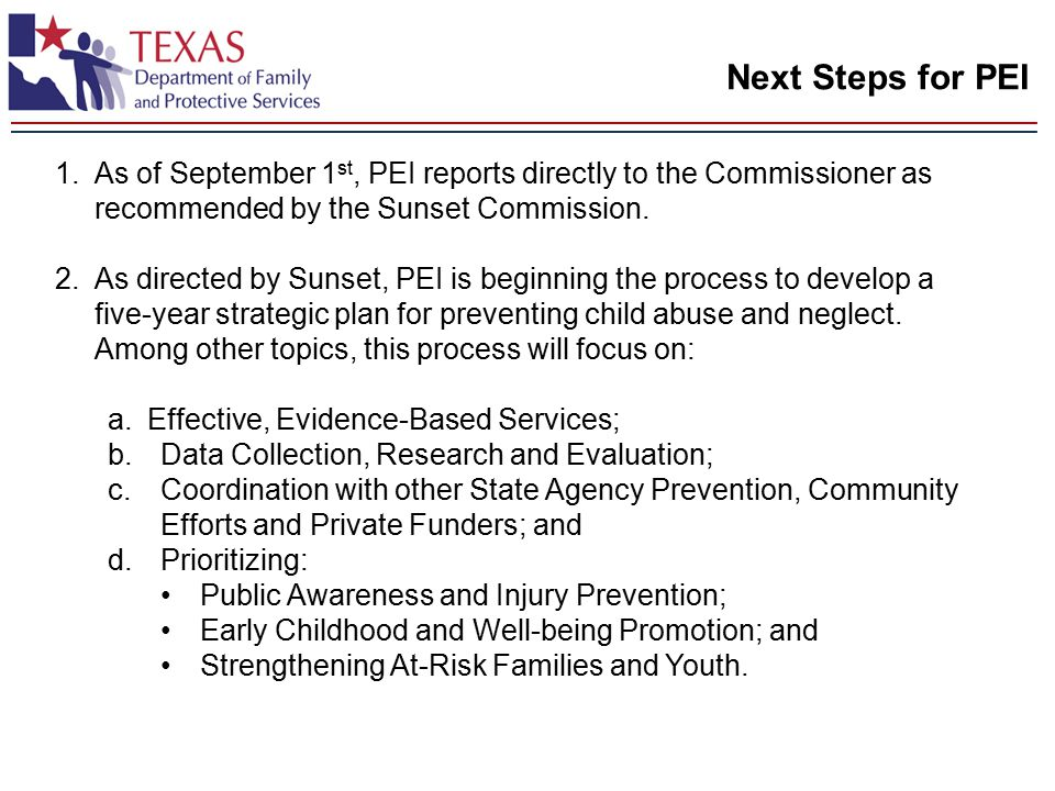 Next Steps for PEI 1.As of September 1 st, PEI reports directly to the Commissioner as recommended by the Sunset Commission.
