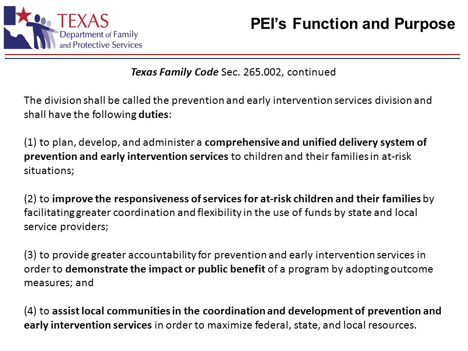 PEI's Function and Purpose Texas Family Code Sec.