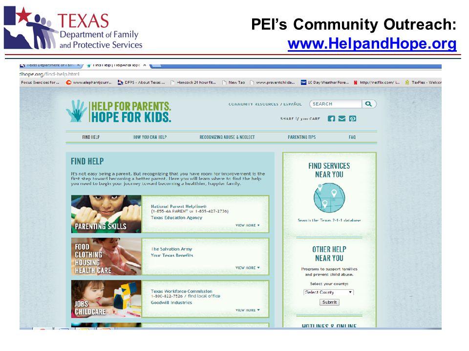 PEI's Community Outreach: www.HelpandHope.org