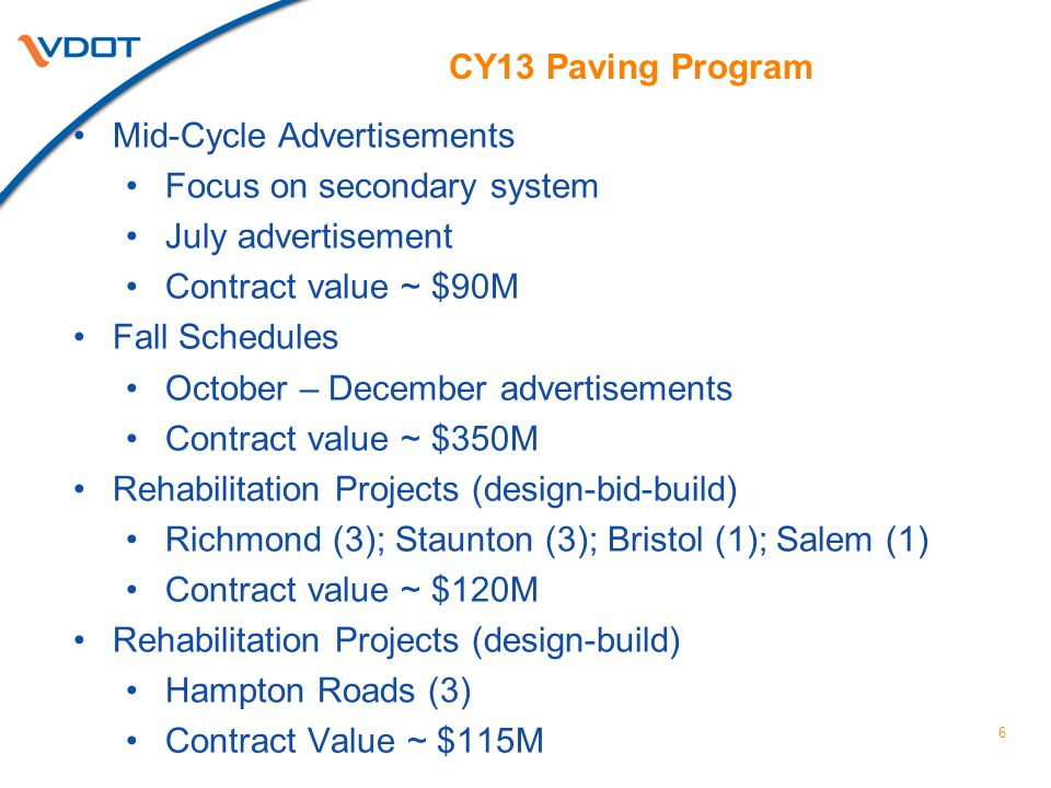 CY13 Paving Program 6 Mid-Cycle Advertisements Focus on secondary system July advertisement Contract value ~ $90M Fall Schedules October – December ad