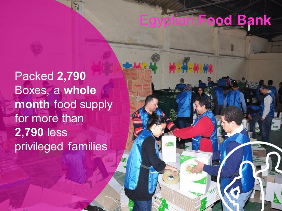 Packed 2,790 Boxes, a whole month food supply for more than 2,790 less privileged families Egyptian Food Bank
