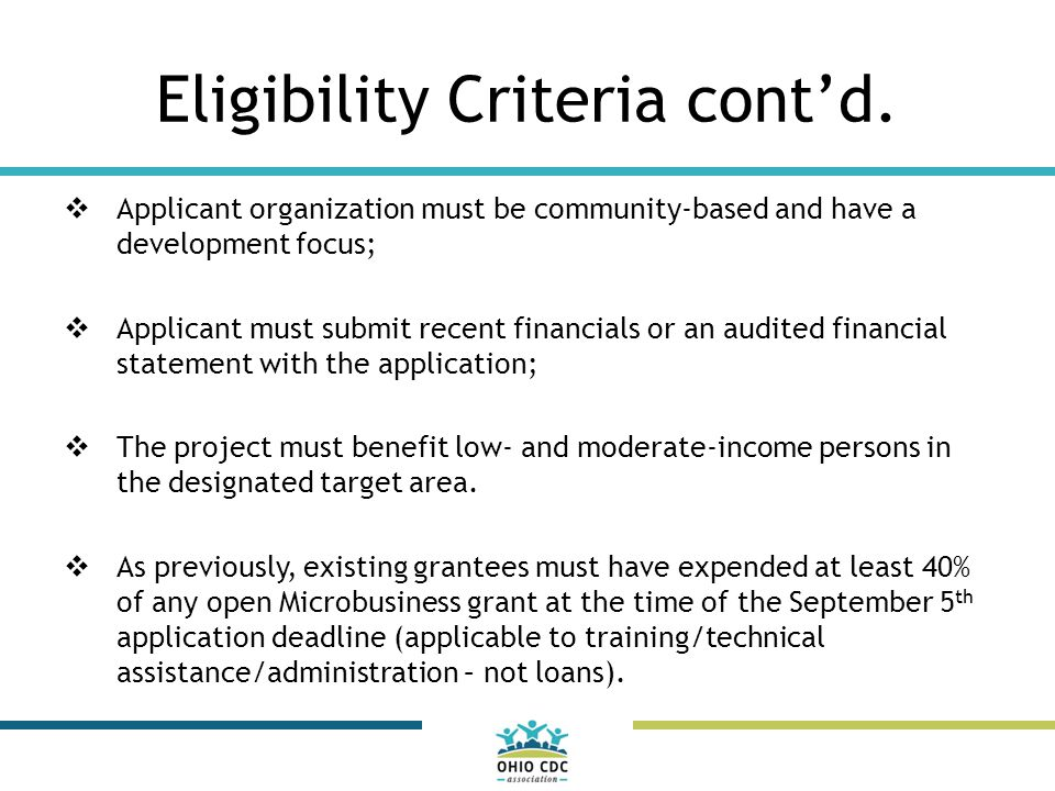 Eligibility Criteria cont'd.
