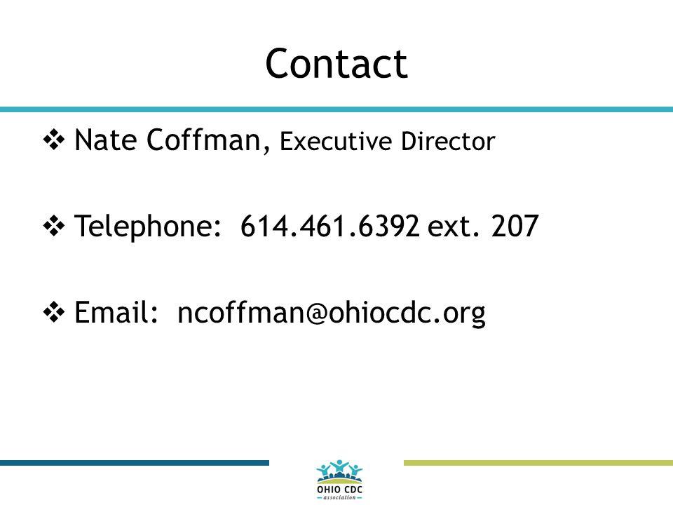 Contact  Nate Coffman, Executive Director  Telephone: 614.461.6392 ext.