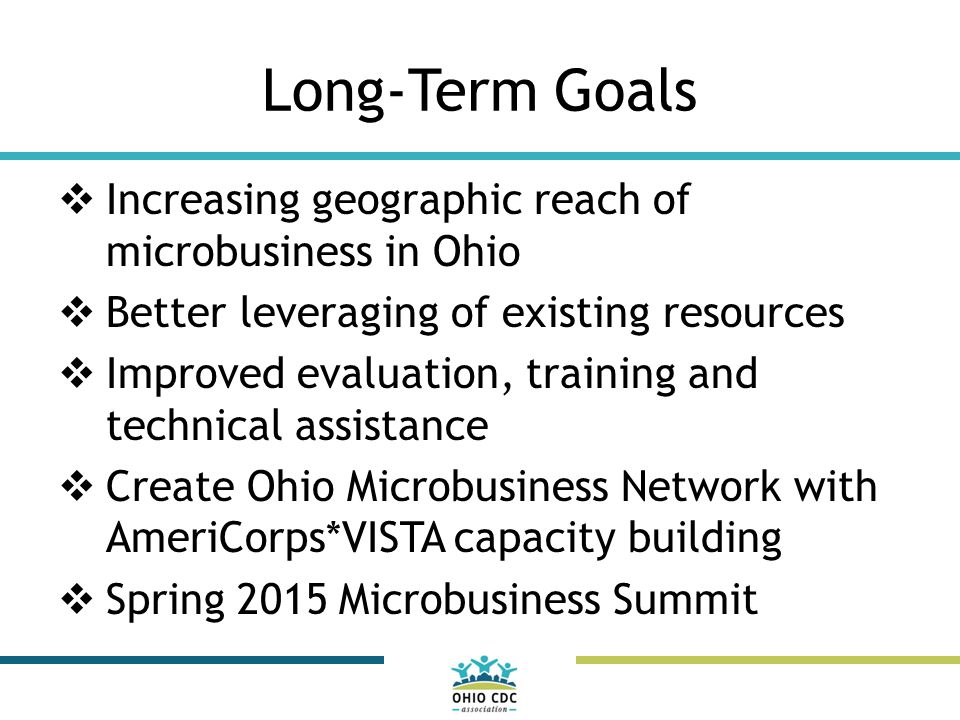 Long-Term Goals  Increasing geographic reach of microbusiness in Ohio  Better leveraging of existing resources  Improved evaluation, training and technical assistance  Create Ohio Microbusiness Network with AmeriCorps*VISTA capacity building  Spring 2015 Microbusiness Summit