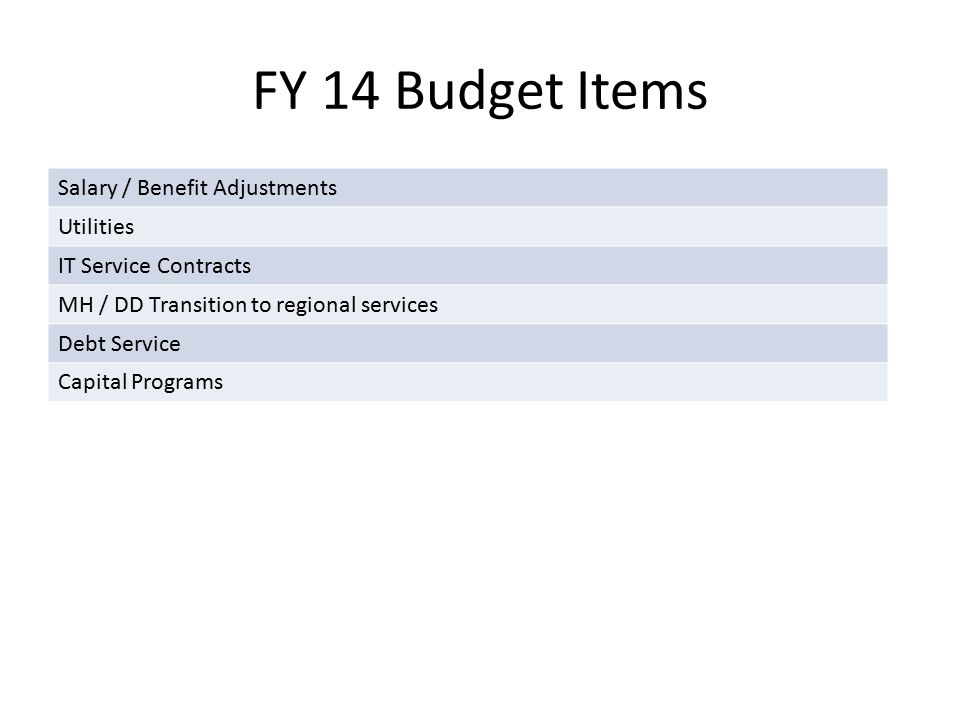 FY 14 Budget Items Salary / Benefit Adjustments Utilities IT Service Contracts MH / DD Transition to regional services Debt Service Capital Programs