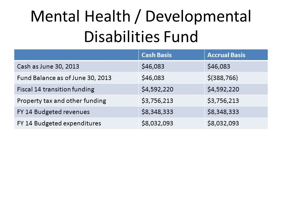 Mental Health / Developmental Disabilities Fund Cash BasisAccrual Basis Cash as June 30, 2013$46,083 Fund Balance as of June 30, 2013$46,083$(388,766) Fiscal 14 transition funding$4,592,220 Property tax and other funding$3,756,213 FY 14 Budgeted revenues$8,348,333 FY 14 Budgeted expenditures$8,032,093
