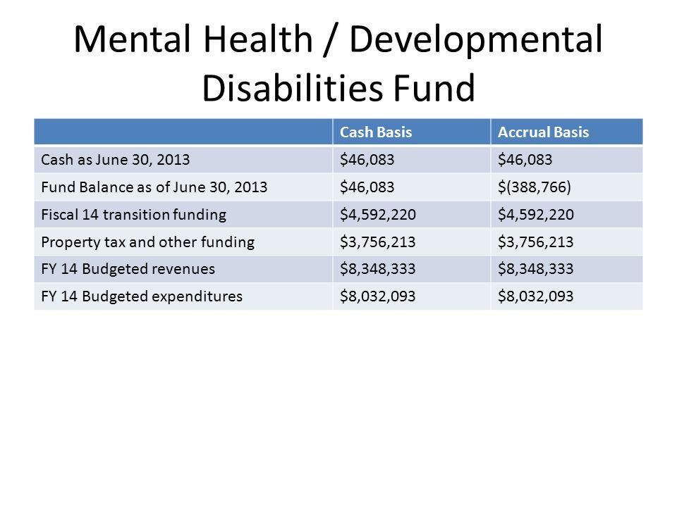 Mental Health / Developmental Disabilities Fund Cash BasisAccrual Basis Cash as June 30, 2013$46,083 Fund Balance as of June 30, 2013$46,083$(388,766)