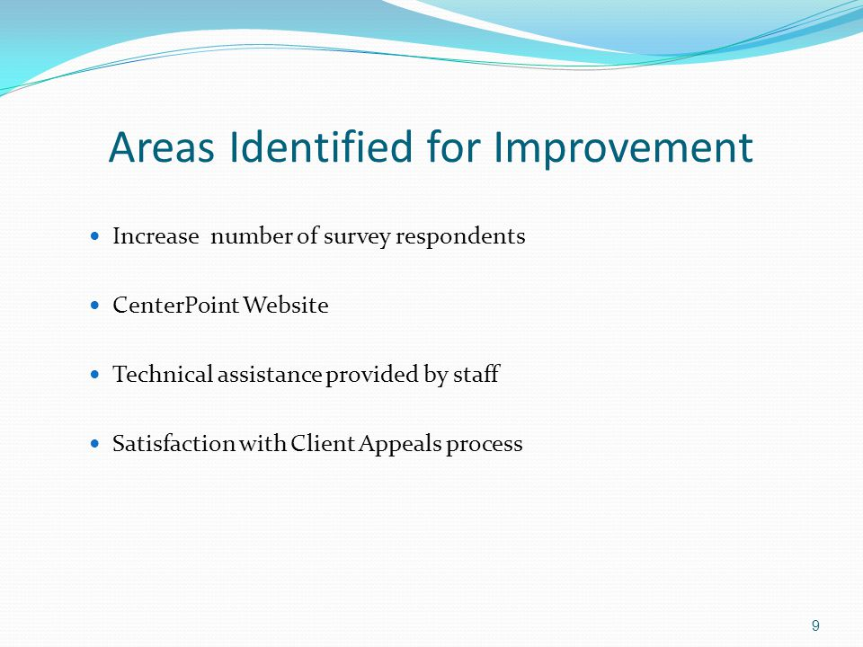 Areas Identified for Improvement Increase number of survey respondents CenterPoint Website Technical assistance provided by staff Satisfaction with Cl