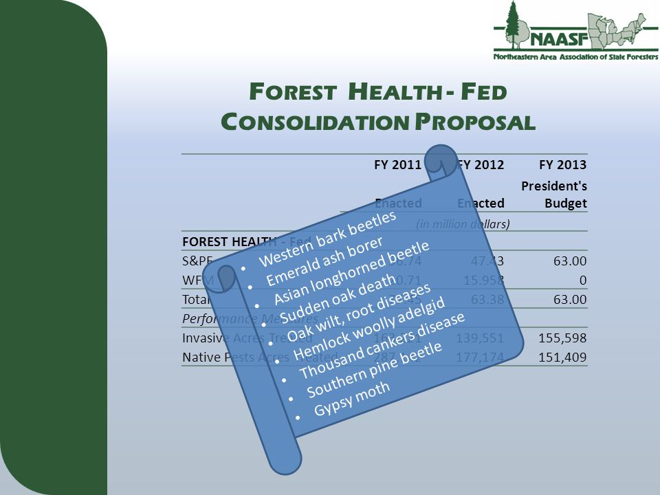 F OREST H EALTH - F ED C ONSOLIDATION P ROPOSAL FY 2011FY 2012FY 2013 Enacted President s Budget (in million dollars) FOREST HEALTH - Fed S&PF56.7447.4363.00 WFM20.7115.9580 Total77.4563.3863.00 Performance Measures Invasive Acres Treated 163,221 139,551 155,598 Native Pests Acres Treated 287,142 177,174 151,409 Western bark beetles Emerald ash borer Asian longhorned beetle Sudden oak death Oak wilt, root diseases Hemlock woolly adelgid Thousand cankers disease Southern pine beetle Gypsy moth