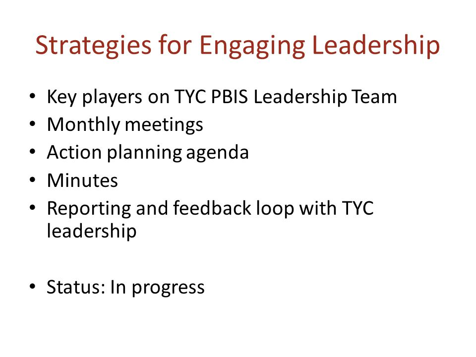 Strategies for Engaging Leadership Key players on TYC PBIS Leadership Team Monthly meetings Action planning agenda Minutes Reporting and feedback loop with TYC leadership Status: In progress