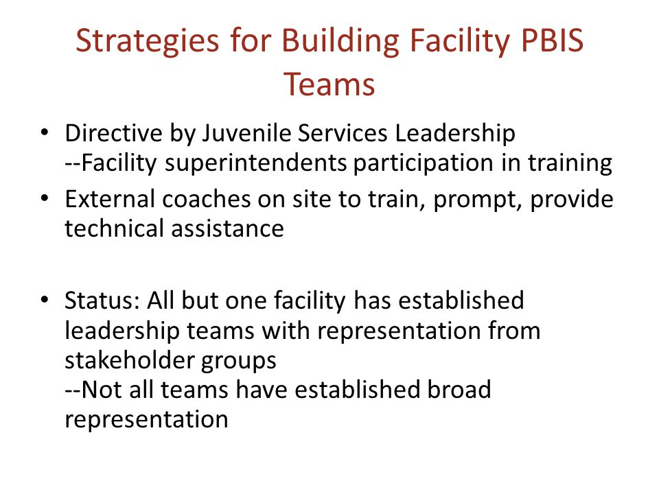 Strategies for Building Facility PBIS Teams Directive by Juvenile Services Leadership --Facility superintendents participation in training External co
