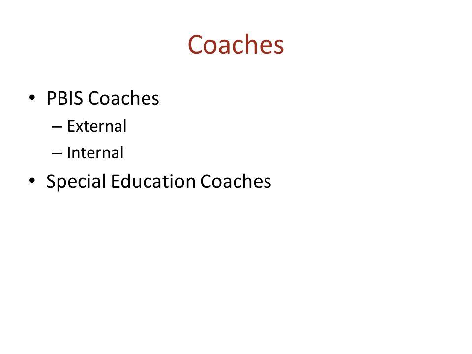 Coaches PBIS Coaches – External – Internal Special Education Coaches