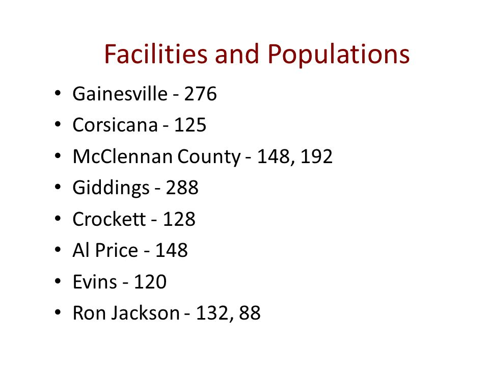 Facilities and Populations Gainesville - 276 Corsicana - 125 McClennan County - 148, 192 Giddings - 288 Crockett - 128 Al Price - 148 Evins - 120 Ron Jackson - 132, 88
