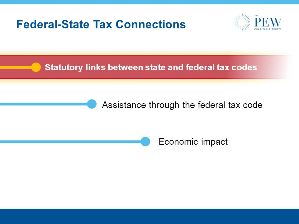Economic impact Federal-State Tax Connections Statutory links between state and federal tax codes Assistance through the federal tax code