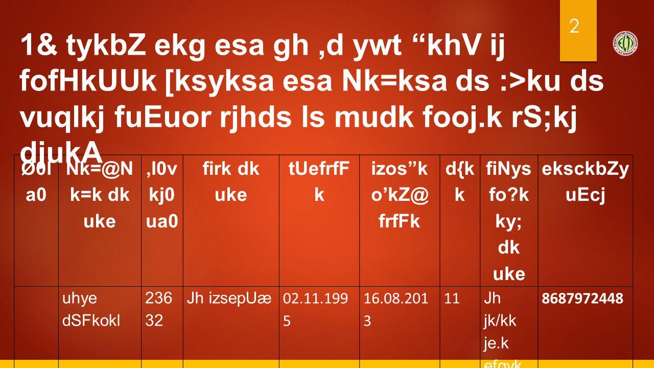 "2 Ø0l a0 Nk=@N k=k dk uke,l0v kj0 ua0 firk dk uke tUefrfF k izos""k o'kZ@ frfFk d{k k fiNys fo?k ky; dk uke eksckbZy uEcj 1 uhye dSFkokl 236 32 Jh izse"