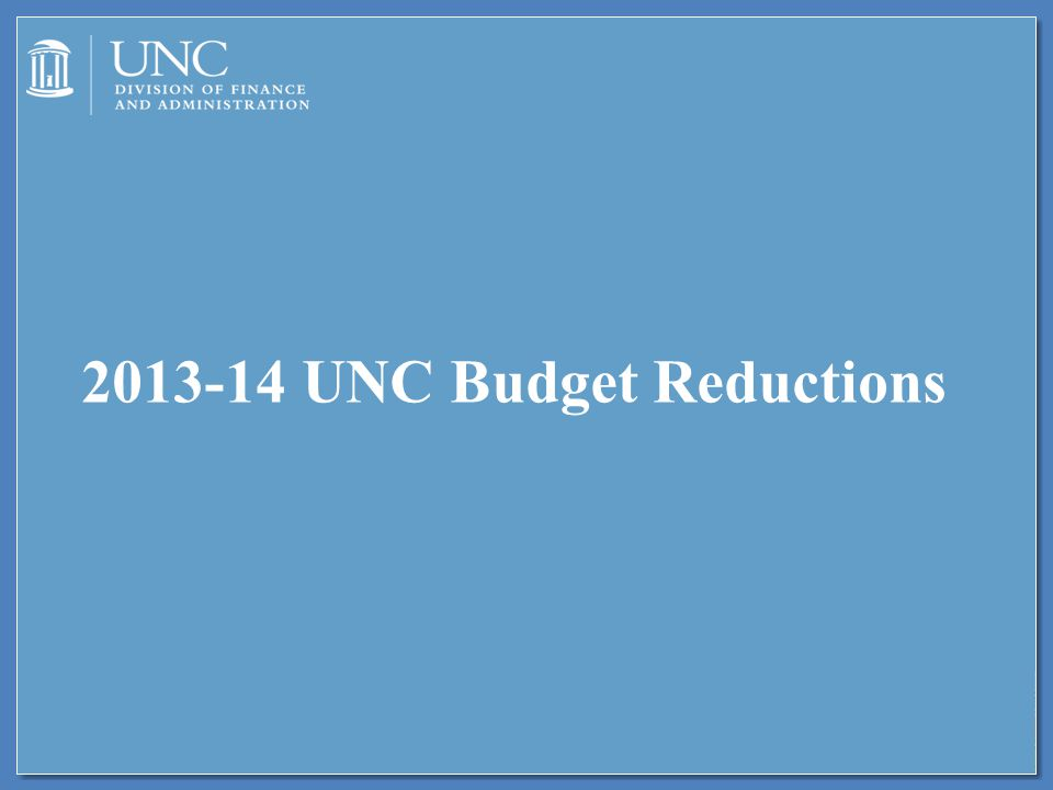 2013-14 UNC Budget Reductions
