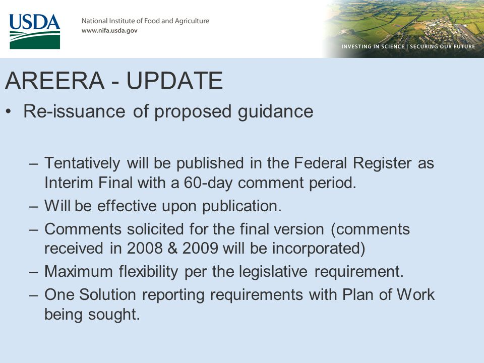 AREERA - UPDATE Re-issuance of proposed guidance –Tentatively will be published in the Federal Register as Interim Final with a 60-day comment period.