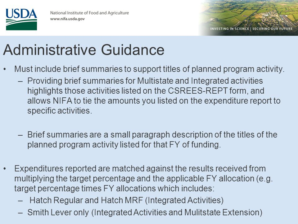 Administrative Guidance Must include brief summaries to support titles of planned program activity.