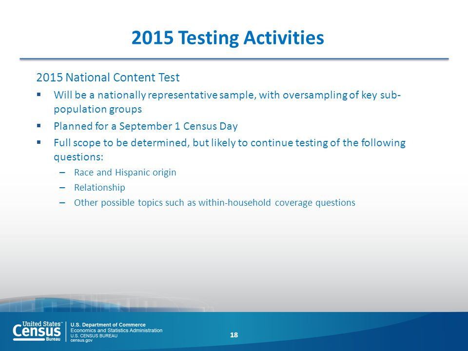 2015 Testing Activities 2015 National Content Test  Will be a nationally representative sample, with oversampling of key sub- population groups  Pla