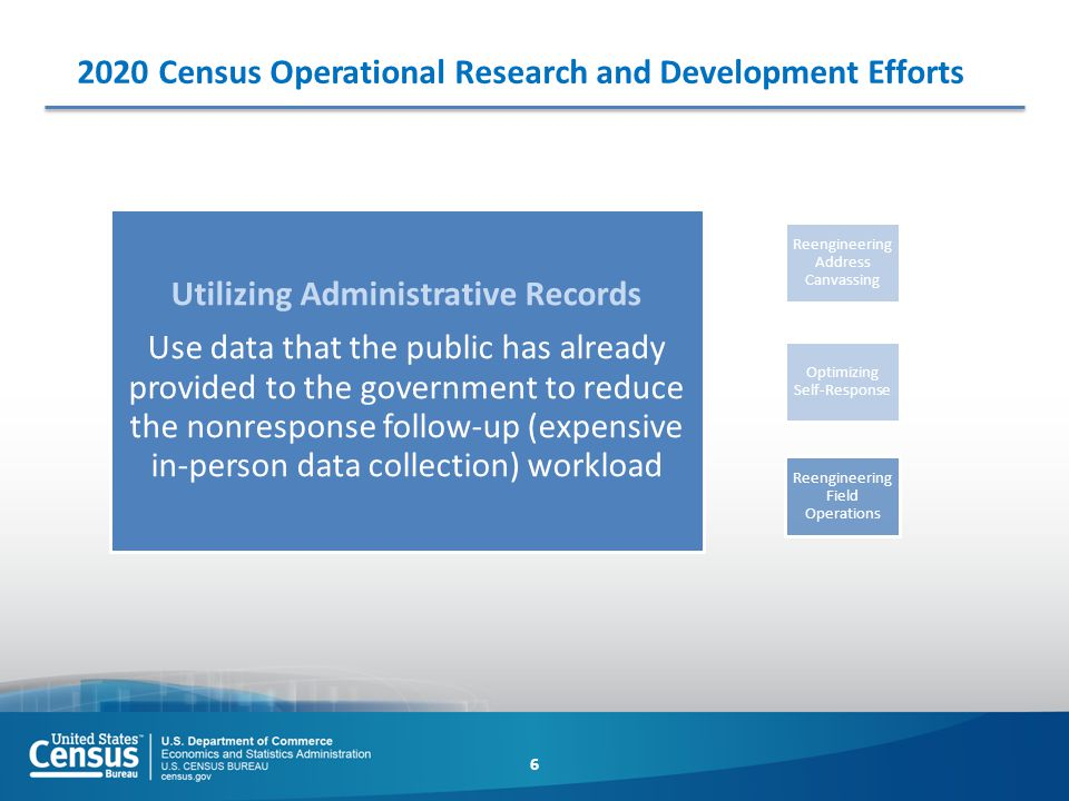 2020 Census Operational Research and Development Efforts 6 Optimizing Self-Response Utilizing Administrative Records Use data that the public has alre