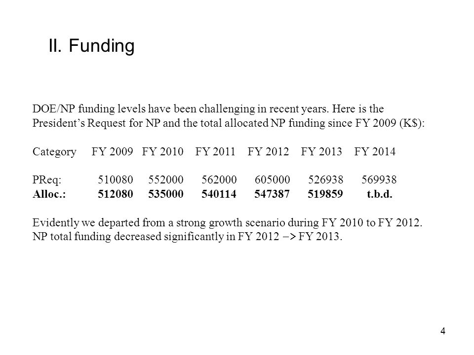 II. Funding DOE/NP funding levels have been challenging in recent years.