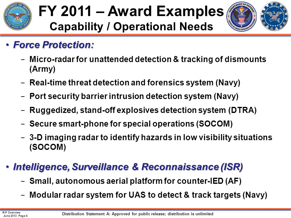 RIF Overview June 2013 Page-6 Distribution Statement A: Approved for public release; distribution is unlimited FY 2011 – Award Examples Capability / Operational Needs Force Protection:Force Protection: ­ Micro-radar for unattended detection & tracking of dismounts (Army) ­ Real-time threat detection and forensics system (Navy) ­ Port security barrier intrusion detection system (Navy) ­ Ruggedized, stand-off explosives detection system (DTRA) ­ Secure smart-phone for special operations (SOCOM) ­ 3-D imaging radar to identify hazards in low visibility situations (SOCOM) Intelligence, Surveillance & Reconnaissance (ISR)Intelligence, Surveillance & Reconnaissance (ISR) ­ Small, autonomous aerial platform for counter-IED (AF) ­ Modular radar system for UAS to detect & track targets (Navy)