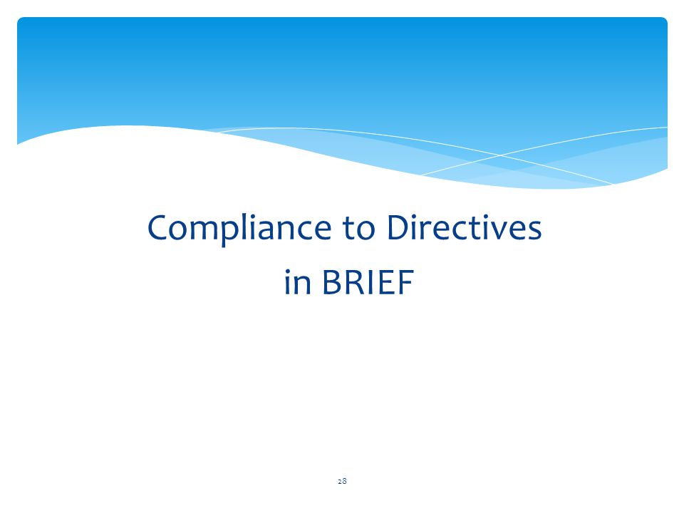 Compliance to Directives in BRIEF 28