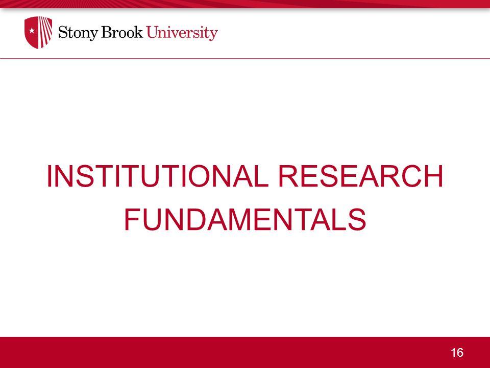 16 INSTITUTIONAL RESEARCH FUNDAMENTALS