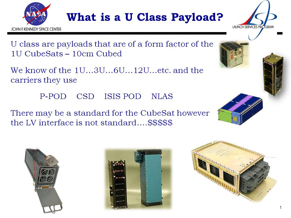 U class are payloads that are of a form factor of the 1U CubeSats – 10cm Cubed We know of the 1U…3U…6U…12U…etc.