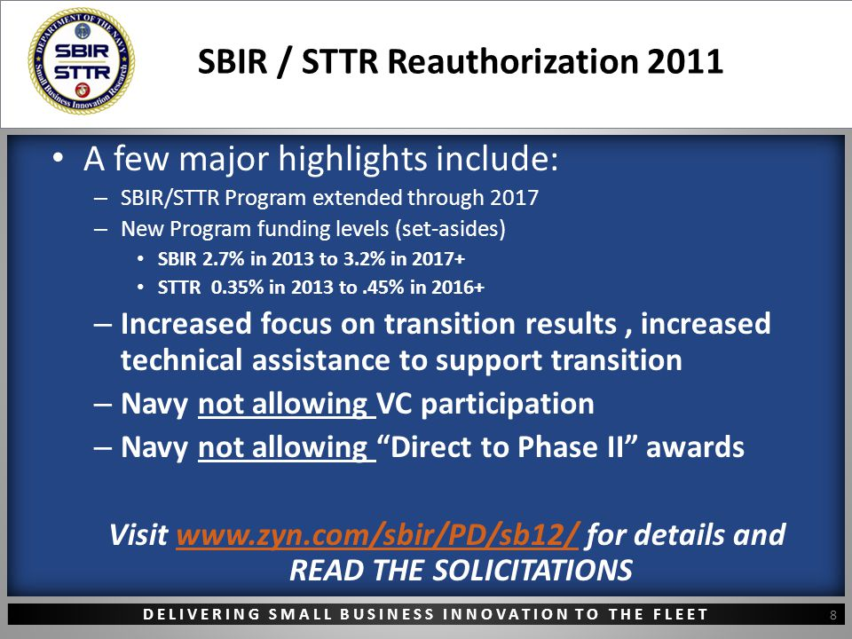 DELIVERING SMALL BUSINESS INNOVATION TO THE FLEET SBIR / STTR Reauthorization 2011 A few major highlights include: – SBIR/STTR Program extended through 2017 – New Program funding levels (set-asides) SBIR 2.7% in 2013 to 3.2% in 2017+ STTR 0.35% in 2013 to.45% in 2016+ – Increased focus on transition results, increased technical assistance to support transition – Navy not allowing VC participation – Navy not allowing Direct to Phase II awards Visit www.zyn.com/sbir/PD/sb12/ for details and READ THE SOLICITATIONSwww.zyn.com/sbir/PD/sb12/ 8