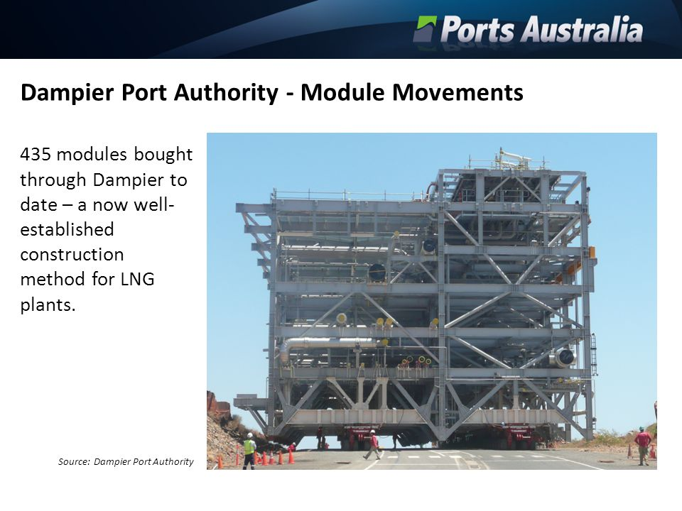Dampier Port Authority - Module Movements 435 modules bought through Dampier to date – a now well- established construction method for LNG plants. Sou