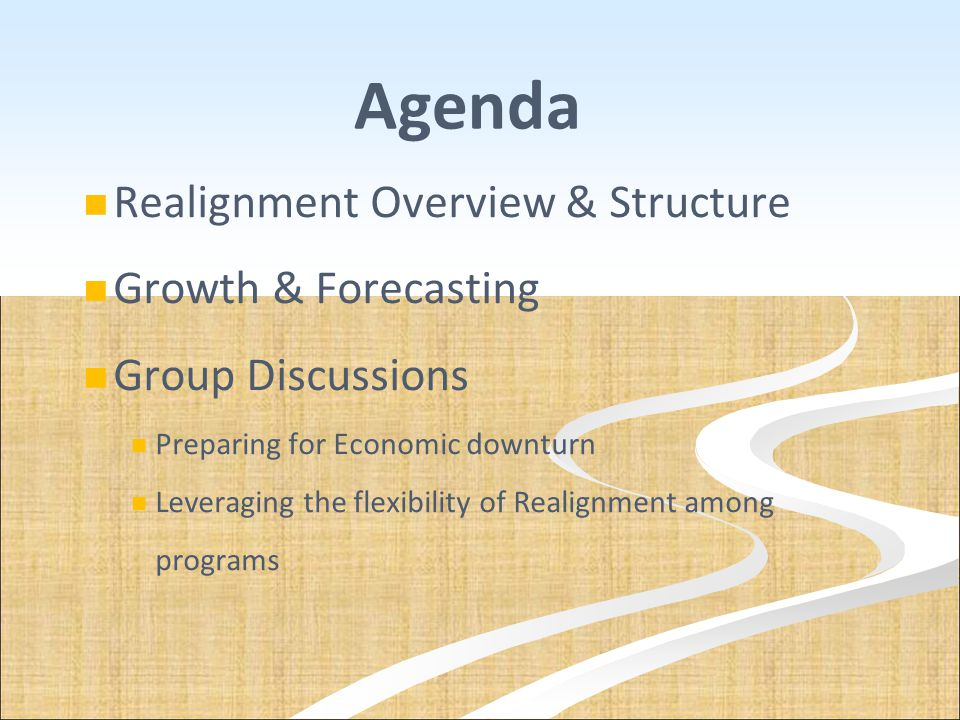 Agenda Realignment Overview & Structure Growth & Forecasting Group Discussions Preparing for Economic downturn Leveraging the flexibility of Realignme